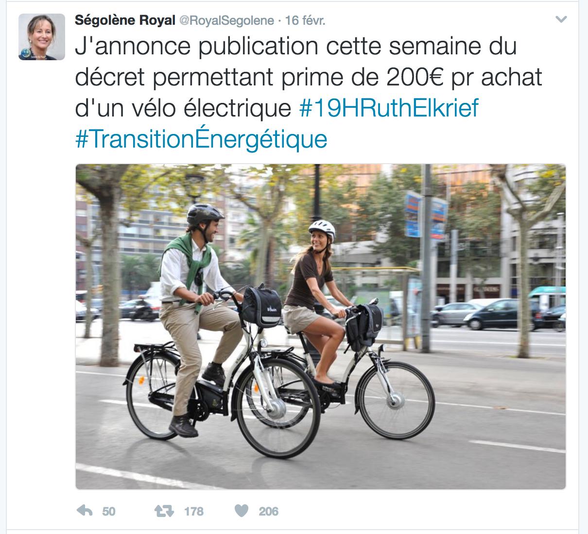 En 2017, l'État subventionne le vélo électrique