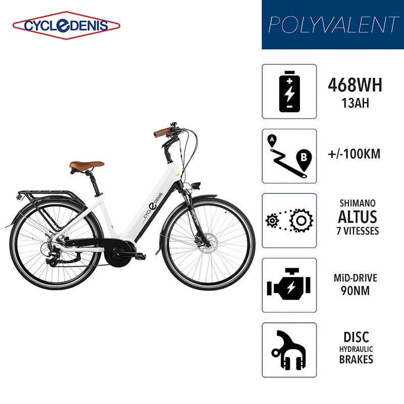 CycleDenis ONE 28 - Taille T48L - Blanc - Vélo Electrique Moteur Pédalier