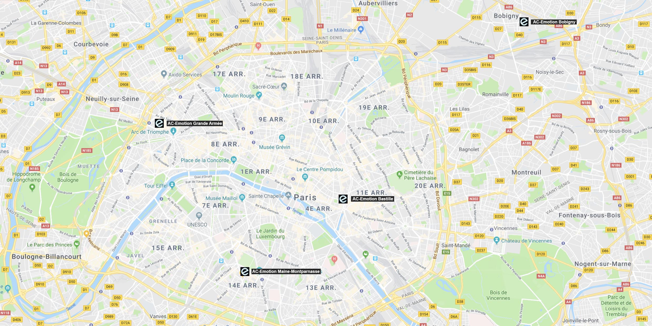 AC-Emotion : Bastille, Maine-Montparnasse, Grande Armée, Bobigny