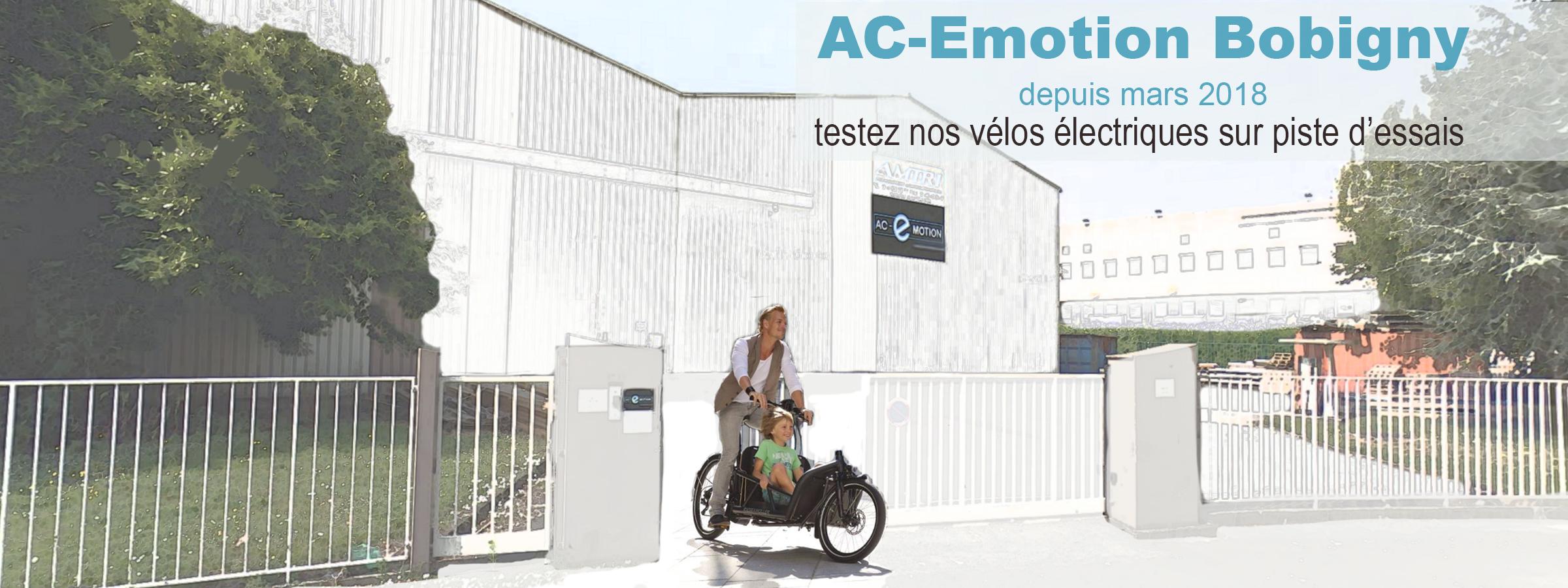 AC-Emotion e-Bike center Paris-Bobigny : espace commercial dédié à la mobilité électrique, avec piste d'essais pour les vélos électriques et les scooters électriques
