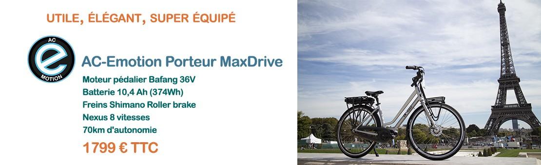 vélo électrique AC-Emotion Porteur MaxDrive : meilleur rapport qualité-prix !