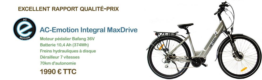 Le vélo électrique AC-Emotion Integral (en version cadre ouvert) : moteur Bafang Max Drive au pédalier, batterie 374Wh, freins hydrauliques à disque... 1990 € TTC
